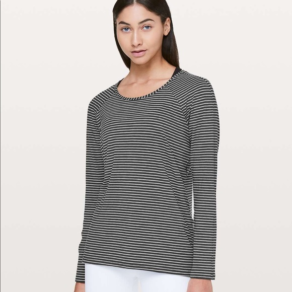 Lululemon Emerald LS Modern Stripe HtrdBlack/White